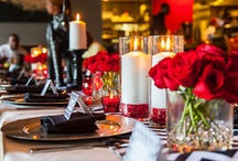 Black and Red   Chevron Print Brunch / In honor of my Sorority (Delta Sigma Theta Inc) 100th Anniversary we wanted to host a brunch and I designed this tablescape. We used a black and white chevron print, an elephant figurine to anchor the table and table and red roses for a pop of color!