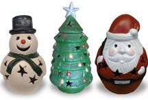 Ceramic Holiday Decor / ceramic lanterns and chimeneas for the holidays. Santa and snowmen for Christmas and Pumpkins for Halloween.