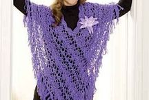 Knitted lacy ladies ponchos