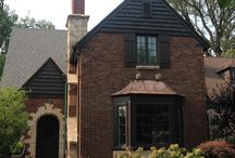 Exterior brick / Project to scrape the old paint on wood and copper, and apply  dark brown exterior paint