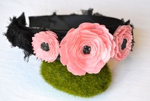 Paper flowers and Enamel Brooches