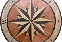 Boat Inlay Floor Medallion Compass Rose / #CompassRose #FloorMedallion and Packaging/Template