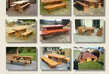 Handcrafted Wooden Tables / Beautifully handcrafted wooden tables made from Macrocarpa wood. Choose from a huge range of designs or design your own stunning wooden outdoor table setting. www.macsmacrocarpa.co.nz