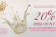 AUGUST 2014 OFFERS / VERY SPECIAL OFFERS 20% discount off a last minute dress to be made this August 2014 (UK Brides only) AND 20% off any accessory orders placed in AUGUST.