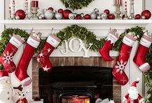 Christmas decorating white fireplace mantle