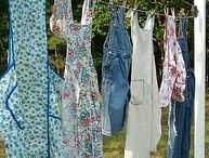 Aprons/ Clotheslines / display to dry wet clothing or kitchen fabrics vintage and new
