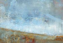 Jaume Muelas: Mirant a l'horitzó / Els seus paisatges es mouen entre la figuració i l'abstracció amb total naturalitat, són imatges que sorgeixen de molt endins, imatges interiors que retornen a la realitat quasi per una inèrcia que l'artista no es molesta a retenir. És fàcil entreveure la influència dels mestres del paisatgisme romàntic anglès del segle XIX amb William Turner com a un dels referents.