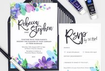 Design suite // Harlow wedding stationery collection / Bold purple watercolour floral wedding invitations, featuring black modern calligraphy, by Project Pretty