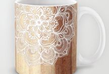 White Doodles On Blonde Wood Neutral Nude Colors Floral Pattern