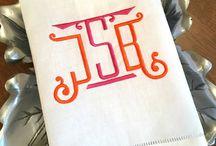 Monogrammed Tea Towels & Linens