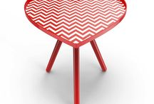 """Heart Side Tables  / """"SweetHeart"""" is a heart shaped stool made of lightweight metal structure and comes in a flatpack packaging. Material : powdercoated steel, matt laminated vinyl film Size : W370 D320 H480 mm"""