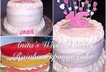 16th birthday rainbow sponge cake