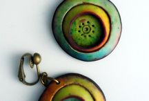 Clay earrings / Coloured