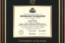 University of Illinois Diploma Frames and Graduation Gifts! / Official UI Diploma frames. Exquisitely crafted to exacting specifications for the UI diploma. Custom framed using hardwood mouldings and all archival materials, including UV glass to prevent fading from sunlight AND indoor incandescent lighting! Each frame exceeds Library of Congress standards for document preservation and includes a 100% lifetime guarantee, ensuring that a hard-earned achievement will be honored and protected for generations. Makes a thoughtful and unique graduation gift!