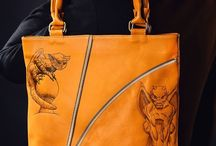 Men's  tote bag, pyrographied print Chimeras №2 / A pleasant, mustard-coloured comfortable men's tote handbag with a design from our Chimera collection: creatures described in Greek mythology with the body, legs and wings taken from different animals and breathing fire from their jaws.