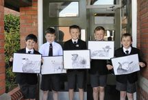 """J4H Henry Moore artwork & 'self-sculptures' (2015) / Pen drawings and clay """"self-sculptures"""" inspired by Henry Moore created by Y4H."""