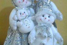 Snowmen and snow ladies