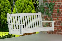 POLYWOOD Swings / POLYWOOD Swings can easily be hung from any porch in a few simple steps.  These outdoor patio swings are constructed from POLYWOOD HDPE plastic lumber which is virtually maintenance free.  Whether you are searching  for a garden swing, bench swing or patio swing, they all provide you with an ideal spot to relax.