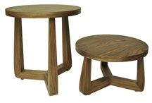 Contemporary New Walnut Wood Veneer Twins Side/ Coffee/Bedside Table-Set Of Two