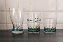 Γυαλί / Γυάλινα αντικείμενα, όπως ποτήρια, βαμμένα.