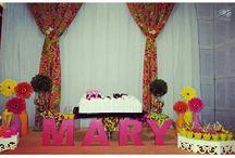 Decoração de festas: laranja, rosa e amarelo / Meu aniversário de 27 anos