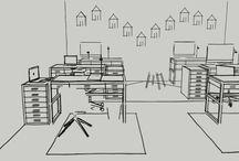 Skiss kontor / Vi tar fram skisser och planlösningar på kontorsmiljöer. www.studioroomies.se