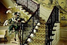 staircase / 100% silk wallpaper, 100% handmade metallic wallpaper with custom antique finishing  Hand-painted chinese painting/ Hand-painted chinoiserie panels @ NSR HANDCRAFTS