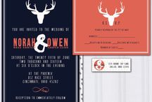 Navy and coral pink wedding theme / Navy blue and coral pink wedding theme deer antler wedding invites nature invitations