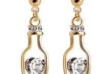 Boucles d'oreilles / Boucles d'oreilles plaqué or ou argent avec des topazes synthétiques et des oxydes de zirconium, bijoux fantaisie pour femmes.
