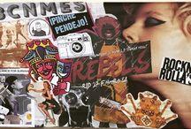 Murales / Collages y murales hechos por mi con material reciclado, recogido de diferentes ciudades del mundo.
