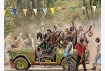 "Galaxidi Carnival Festival-Flour War / Residents of the port town of Galaxidi celebrate Clean Monday every year during the carnival with a flour war. The participants drive make-shift cars, dance, and throw flower at each other.  Αλευρομουτζούρωμα στο Γαλαξείδι  Την Καθαρά Δευτέρα στο Γαλαξίδι οι κάτοικοι και οι επισκέπτες κατεβαίνουν στην αγορά, όπου γίνεται το ""μουντζούρωμα"" και το ""αλεύρωμα"". Δηλαδή από σακούλες, που άλλες είναι γεμάτες με φούμο και άλλες με αλεύρι ρίχνουν οι εορταστές στους ανυποψίαστους και μεταξύ τους."