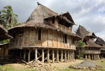 Nias Architecture / Unique vernacular architecture from Nias Island, Indonesia; traditional houses (Omo Hada), villages, sculptures and stone works.
