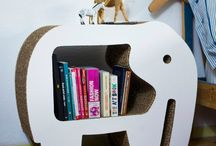 cardboard bookcase - kids