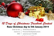 """12 Days of Christmas Facebook Contest"" / When you enter your name & email to this contest (http://www.unadoyle.com/12days) you'll be given the chance to win 1 of 78 business development & personal growth prizes totalling over £16.5k! Runs 25 Dec to 5 Jan 2014 and all winners will be selected on or about the 6 January and notified thereafter. A list of winners will also be published on the contest page."