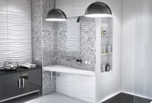 Modern black & white bathroom / Modern black & white bathroom with products from Luxum. Panels MDF 3D, washbasin, lamps and shower tray. It looks perfect!