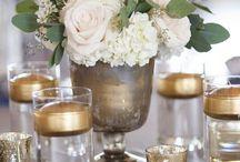 Decoration de table dore et blanc