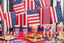 Amerika (USA) Themafeestje / Doe hier ideeën op voor jouw Amerika (USA) themafeestje. Talloze feestbenodigdheden en versieringen in de stijl van de Amerikaanse vlag.