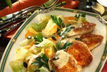 Hähnchenbrust mit Gemüse und Senfsoße