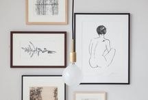 Framed drawings & photographs