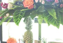 Tropical Wedding / Bright florals, pineapple accents, and tropical music makes for a great fiesta style wedding!