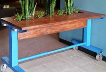 Industrial Style Furniture / There is something about the texture and style and feel of well used industrial equipment. Combine the heft and sturdiness of welded steel with the warmth of wood and the results speak for themselves.