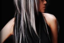 Silver hair / Hairstyles. Black and silver