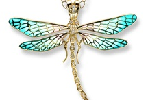 """Plique a jour Jewelry / Fine examples of this technique used by the French enamelists Lalique and Feuillâtre in the 1900's. The French term means """"glimpse of day"""" and describes how the light shines through the rich, lustrous enamel colour."""