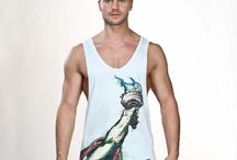T shirts, Tanks / T shirts and tanks that you will find in store at www.alphamaleundies.com   we ship worldwide.