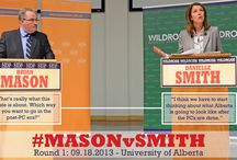 #MASONvSMITH Debate Series / With the PC dynasty on the ropes, we're bringing you a championship matchup that could put itdown for the count!    Mason's a southpaw that'll knock out giveaways to the wealthy and protect services for all.    Smith's powerful right haymaker will keep taxes down and put Alberta's finances back on track. #ableg / by Team Wildrose