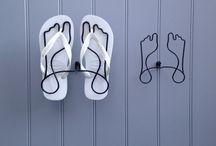 Footprint single shoe racks / New shoe racks in rainbow colours.