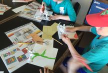 Llantwit Major School Transition 2015 / KS2 visit Art department to create Keith Haring and Giacometti influenced sculpture, with some disco dancing thrown in.