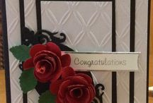Handmade Flowers on Cards by Marcia / Experimenting with making flowers from die cuts or punches