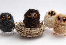 Baby Owls / Handmade baby owls needle felted from rare breed wools