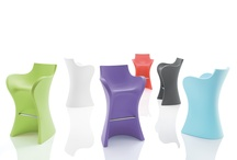 WOOPY, the sinuous barstool / WOOPY comfortable barstool, in rotomoulded polyethylene, perfect for indoors and outdoors, design by Karim Rashid 2011.